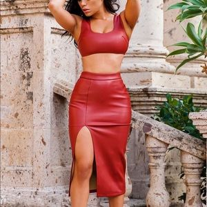 Red Faux Leather Skirt Set